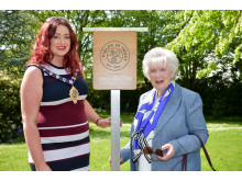 Outgoing Mayor, Councillor Lindsay Millar and Mrs Joan Christie CVO, OBE.