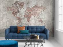 Brick Wall World Map