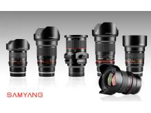 Samyang objektiv för Sony E fullformat gruppbild