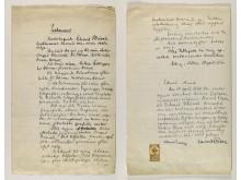 Edvard Munchs dødsbomapper med testamente 1940/1944