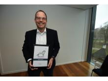 En glad Steffen Feddersen fra MANs busafdeling, blev kåret som årets MAN løve for sin særlige indsats og for på bedste vis at udleve MANs kerneværdier om en positiv tilgang til arbejdet.