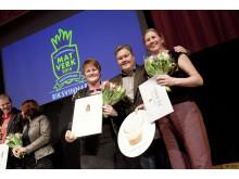 Vinnarna av riksfinalen i Matverk prisas av Mathias Dahlgren