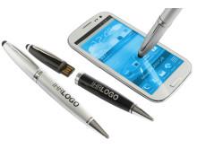 Der USB-Kugelschreiber mit Firmenlogo, Stylusfunktion und Mini-Chip