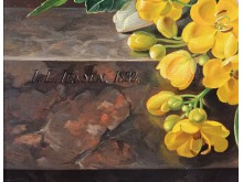 Udsnit af J.L. Jensen, 'Blomster på et marmorbord', 1833. Olie på træ. Musée Fabre