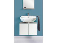 Handfat, spegel och tvättställsskåp i Villeroy & Bochs serie O.novo Style