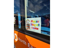 Rainbow drawing on a Go North East bus in support of key workers