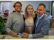 Andreas Broman med Hjalmar Olofsson från Sony Mobile och Gabrielle Lind-Val, Nespresso.