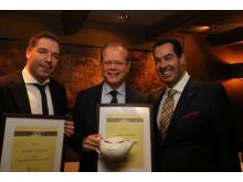 Food & Beverage Manager på Scandic Nidelven, Lasse Waagbø, Hotelldirektør på Scandic Nidelven, Kjetil Vassdal og direktør for mat og drikke i Scandic, Morten Malting