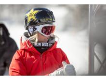 Silje Norendal kjørte sitt livs run på hoppene, men nådde ikke opp på rail-triksene og endte på fjerdeplass. Foto: Snowboardforbundet