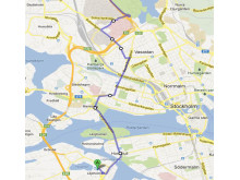 Karta hållplatser Liljeholmslinjen