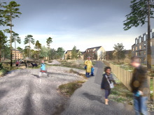 Illustraion planprogram Lilljansberget. Naturmark inom bostadskvarter på Lilljansberget.