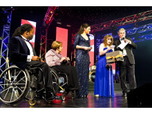 Ade Adepitan, Tanni Grey-Thompson, Sarah Storey and Natasha Baker at the SportsBall in 2012