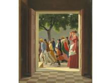 C. W. Eckersberg: View through a door to running figures (1845)