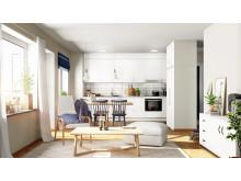 Kök och vardagsrum på Aspö Eko-logi