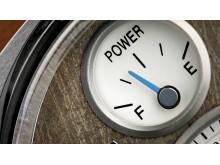 Klockans batterimätare är utformad som bilens bränslemätare.