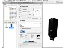Screenshot from ArchiCAD with a Tork Dispenser as a BIM object