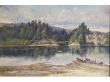 Värmland i konsten. Vid färjeläget i Ransäter, 1924. Gumme Åkermark (1847-1927).