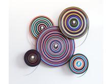 »TARGET/Wall_Ensemble« , 2017, 5x PVC-Farbbänder, 5 Aluwellen, ca. 180 x 180 x 20 cm