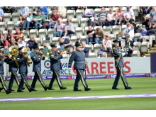 RAF College Band play at Worcestershire Cricket Club as part of the D-day anniversary celebrations.
