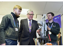 PICTURED L-R  apprentice Stewart Esler, Fergus Ewing MSP  and apprentice Matt Friel