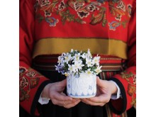 Norgesglass i porselen med stråmønster
