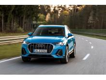 Audi Q3 (turboblå) dynamisk forfra