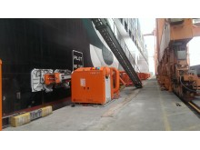 Safe and sound: MoorMaster automated mooring units hold a container vessel in position at Salalah.