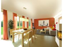 """Wohnzimmer des Massivhaus """"Flair 113"""""""