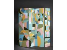 Liselotte Watkins, Incontro, 2018, vikskärm, akryl och lack, 125 x 135 cm