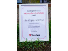 """Utmärkelsen """"Sveriges bästa expressbusshållplats 2017"""""""