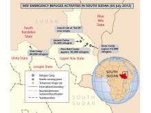 Karta över flyktinglägren i Upper Nile State och Unity State, Sydsudan