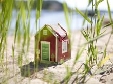 Stugan på stranden i vassen