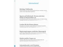 """Neue Zurcher Zeitung - digitale und verbessert (Lesemodus """"Mobil"""")"""