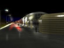 Nattbild västerut på Agavägen