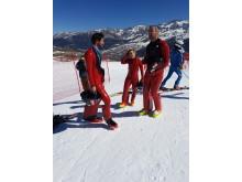 Störtloppsvärldsmästarinnan Nicole Schmidhoffer förbereder sig för att tävla i VM i speedski.