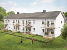 Illustration över gårdssida med altan/balkong, BoKlok Åkern.