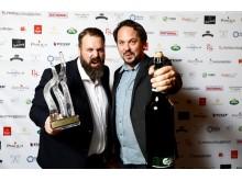 Vinnare av Årets ölutvecklare 2017. Från vänster: Petur Olafsson och Fredrik Berggren, GBG Beer Week.