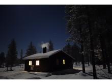 Valsjøhytta i måneskinn -  Rendalen, Hedmark
