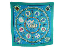 Fashionabla 21 juli, nr 12, scarf, Hermès, L´Embleme de l´Europe, Cathy Latham, 100 % silkesjacquard