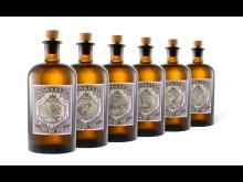 Die sechs Monkey 47 Jubiläumsflaschen