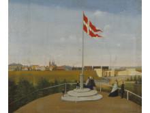 Den første jernbane gik til roskilde. Røde Port og damplokomotiv, J.C. Gottschalck. Kredit Museumskoncernen ROMU