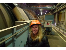 Open's Stephanie Beudat touring the Iggesund Paperboard mill.