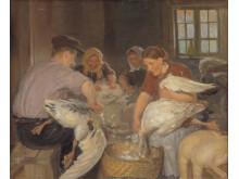 Foredrag om julemadens traditioner på Frederikssund Museum.  Anna Ancher_Julegæssene plukkes 1904. Kredit SMK - Public Domain