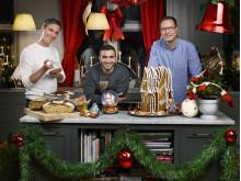 Sebastien, Roy och Magnus i Julbak med dessertjuryn, premiär 10 december 20.00 i Kanal 5.