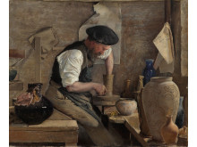 L.A. Ring. Pottemageren Herman Kähler i sit værksted. 1890. Olie på lærred, 48,5 x 59 cm.  Randers Kunstmuseum. Foto Randers Kunstmuseum