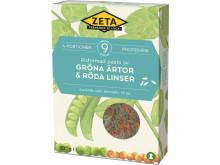 Zeta Risformad pasta av gröna ärtor & röda linser