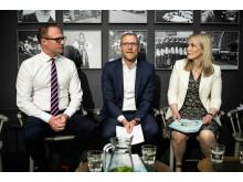 Björn Hellman, vd Livsmedelsföretagen, Lars Appelqvist, ordf. Livsmedelsföretagen och vd Löfbergs, Anna Malmhake, vice ordf. Livsmedelsföretagen och vd The Absolut Company