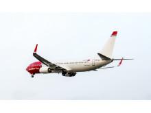 Norwegians sista leverans av modellen Boeing 737-800 på väg från Seattle