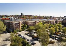 Översikt över Diligentias fastighet på Esplanaden i Sundbyberg