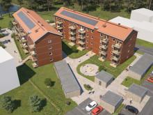 Översiktsillustration av det nya kvarteret BoKlok Haga i Älmhult.